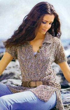 ажурный пуловер с боковыми шлицами и воротником поло