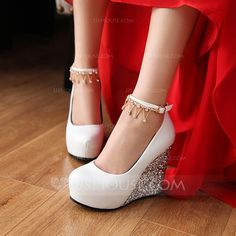 [US$ 40.99] Women's Leatherette Sparkling Glitter Wedge Heel Closed Toe Pumps Wedges With Buckle Rhinestone (047113423)