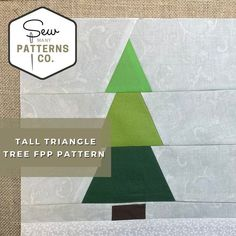 Tall Triangle Tree FPP Pattern FPP Pattern Paper Piecing | Etsy