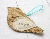 christmas ornament, burlap bird
