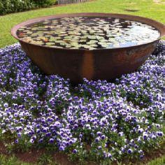 Old plantation sugar kettle, Louisiana Landscape Design, Garden Design, Daisy Hill, Flower Bed Designs, Outdoor Water Features, Patio Plants, Tropical Garden, Front Yard Landscaping, Water Garden