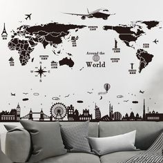 World Map Wall Stickers DIY Europe Style Buildings Mural Decals for Living Room School Dormitory Office Decoration Diy Dorm Decor, Dorm Decorations, Room Decor, Office Decor, World Map Sticker, World Map Wall, World Map Mural, Wall Painting Decor, Map Wall Decor