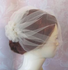 Birdcage Veil, Birdcage Wedding Veil, Bridal Blusher Tulle Veil with Attached Tulle Pouf, White, Ivory, Champagne - LEAH via Etsy