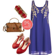 In this outfit: Everything Exquisite Dress, Retro Rosie Bracelet, Scrapbook Ending Bag, Red, White, and Blues Dance Flat #patriotic #cocktail #shiftdress