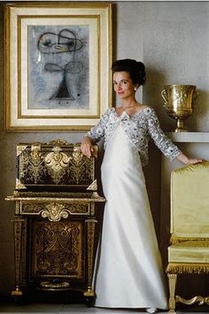 Lee Radziwill - Simply Stunning in Silver & White Evening Gown / Ornate Gold and Silver Salon (1962)