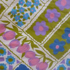 vintage sheet fabric fat quarter (patchwork style floral blue green pink purple tulip daisy) on Etsy, $2.50