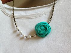 Flower Necklace - Fabric Rosette & Pearl Vintage Style Necklace - 7 Color Choices - You Pick Color