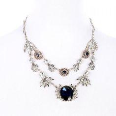 Faux Crystal Rhinestone Flower Shape Pendant Necklace