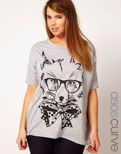 ASOS CURVE Exclusive T-Shirt With Posh Fox