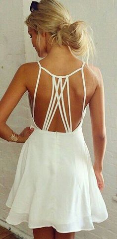 White Summer Open Neck Plain Tie Back Condole Belt Square Neck Chiffon Dress.