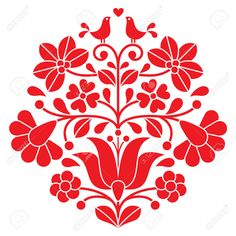 Kalocsai Red Embroidery - Hungarian Floral Folk Pattern With ...