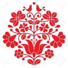 Kalocsai Bordado Rojo - Patrón Floral Popular Húngaro Con Las Aves Ilustraciones Vectoriales, Clip Art Vectorizado Libre De Derechos. Pic 39366480.