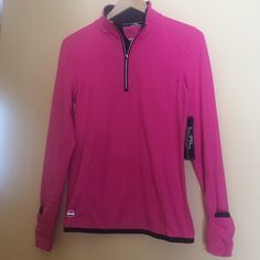 New Ralph Lauren Active-wear Top Small New with tags, Ralph Lauren Active Top. 89% polyester and 11% elastane. Silver tone fine quality metal zipper. Color is blaze pink. Size small. Ralph Lauren Tops Tees - Long Sleeve