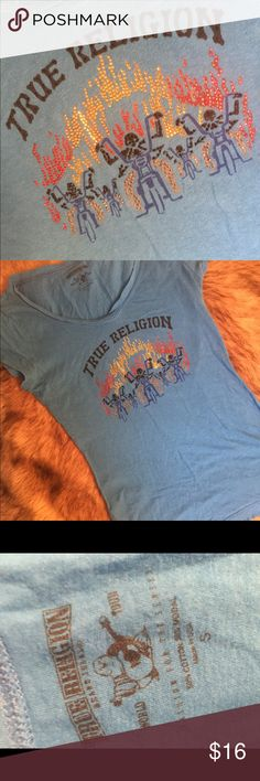 True Religion Women's Blue Tee Top This is super cute! The sparkly embellishment is cool motorcycle riders. It is in perfect condition and super comfortable under that motorcycle jacket! It is 50% Cotton and 50% Modal. True Religion Tops Tees - Short Sleeve