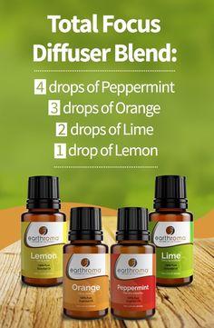 Total Focus Essential Oil Diffuser Blend.  4 drops of Peppermint essential oil. 3 drops of Sweet Orange essential oil. 2 drops of Lime essential oil. 1 drop of Lemon essential oil.  Add to your diffuser and increase your focus.