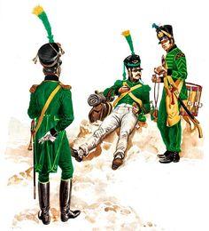 """""""Nassau and Oldenburg""""   • Officer (Premierleutnant) of Voltigeurs, parade dress, 1810  • Voltigeur Corporal, campaign dress, 1809-13  • Drummer of Fusiliers, 2nd Infantry Regiment, 1809-13"""