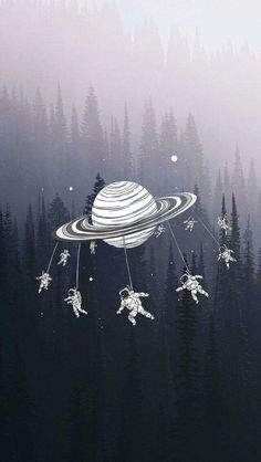 Merry Go Round Astronauts Saturn Forest iPhone 5 Wallpaper