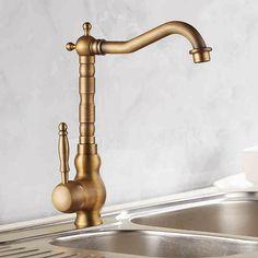 Kitchen faucet fashion antique copper sink hot and cold counter basin rotating Bidet Faucets, Copper Sink, Single Handle Kitchen Faucet, Chrome Faucet, Bathroom Fixtures, Pot Filler Faucet, Modern Faucet, Brass Kitchen, Sink