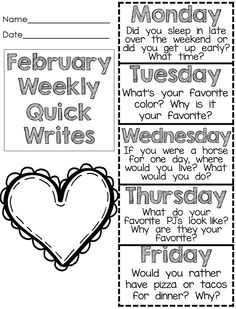 Quick Writes for February - one sheet for the week - updated with interactive notebook templates. $