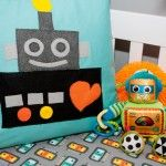 As software engineers my husband and I loved the idea of a 'geeky' twist on a nursery theme and fell in love with the idea of robots. Robot Bedroom, Robot Nursery, Space Themed Nursery, Nursery Themes, Nursery Ideas, Nursery Bedding, Nursery Room, Robot Classroom, Rock A Bye Baby
