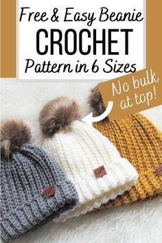 Beanie Pattern Free, Crochet Beanie Pattern, Easy Crochet Hat Patterns, Beanie Knitting Patterns Free, Crochet Baby Beanie, Afghan Crochet, Blanket Patterns, Crochet Hat Size Chart, Crochet Toddler Hat