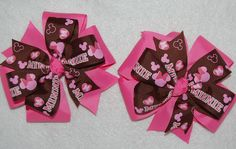 Pink/Brown Mouse Head SET (2) HAIR BOWS with Alligator Clips #Handmade