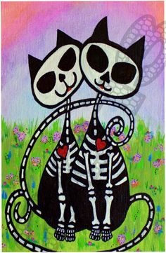 Skeleton Cat Love  Pet Memorial Day of the Dead by LilBittyFish, $11.00
