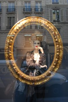 Picture frames are a nice way to frame a mannequin in a window display - Lanvin, Paris, january 2013 Store Front Windows, Retail Windows, Store Window Displays, Clothing Displays, Visual Display, Merchandising Displays, Window Design, Store Design, Tents