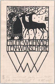 Weihnachtskarte der WW/Christmas card from the Wiener Werkstaette designed by Carl Otto Czeschka, 1905 Art Deco Illustration, Christmas Illustration, Floral Illustrations, Merry Christmas Card, Vienna Christmas, Xmas, Gustav Klimt, Art Nouveau, New Year Art
