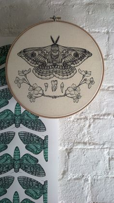 Floral Emperor Moth Pointillism Screen Print on by ANTIPRISM