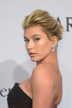 The Best Beauty Looks from the amfAR Gala   Hailey Baldwin in a Chic Updo and Flawless Makeup