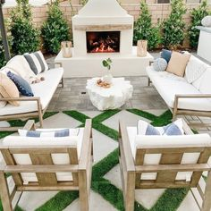 Your great escape ☀️Create your ideal summer staycation in your very own backyard 🏡 PS: All outdoor is up to off on our site! Click the… Backyard Seating, Outdoor Seating Areas, Outdoor Rooms, Outdoor Decor, Small Outdoor Kitchens, Backyard Barn, Cozy Backyard, Small Outdoor Spaces, Outdoor Fireplace Designs