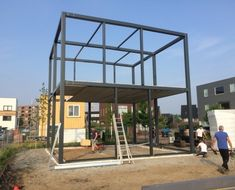 Construction of steel and concrete construction for cube-dwelling - Anton Constructie & Adviesbureau Steel Frame House, Steel House, Metal Building Homes, Building A House, Steel Structure Buildings, House On Stilts, Home Stairs Design, Casas Containers, Steel Frame Construction