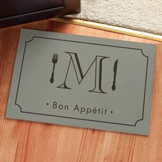 Personalized Bon Appetit Initial Doormat Available In Multiple Colors, Beige