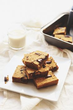 Healthy Chickpea Blondies made from everybody's favourite bean! They're gluten-free, high in protein and sweetened with maple syrup. No one will guess that they're made from chickpeas!