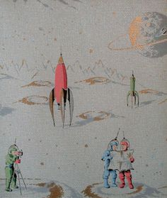 Sightseeing in space. Vintage wallpaper. I would have loved to grow up looking at this.