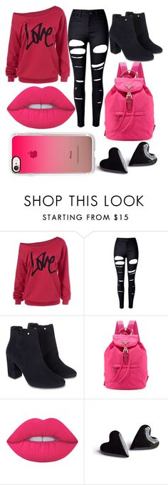 """""""Hot Pink and Black"""" by kaitlyn-ashby101 ❤ liked on Polyvore featuring WithChic, Monsoon, Prada, Lime Crime and Casetify"""