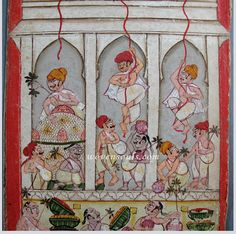 Govinda Ala Re at Janmashtami - an Indian Miniature Painting   WOVENSOULS COLLECTION - #Antiquepainting #miniature #miniaturepainting Antique Textile Art and #Accessories from WOVENSOULS.COM #art #antiques #gift #interiors #interiordecor #interiordesign #artconsultant #wallart #stylist #accessory #vintagetextiles #decor  #traditionalart #culture #eclectic #onlinegallery #onlinestore #onlineshop #singaporeantiques #designers #antiqueindian #indianart #embroidery #weaving