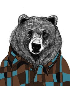 Sid Loves His Flannel Shirt Bear Illustration by corelladesign