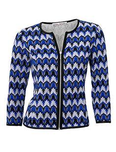 Koop Ashley Brooke - Bodyforming-shirtjasje royalblauw/zwart in de Heine online-shop missoni look vest jacket blue white and black print