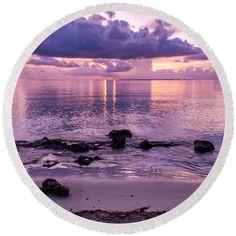 Tropics Round Beach Towel featuring the photograph Sunset Blush by Kristina Abramovic