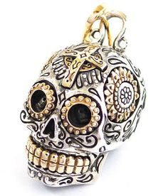 Mexican Sugar Skull Pendant Necklace (Large)