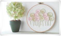 Embroidery hoop wall art Pink Green Poppy by KawaiiSakuraHandmade