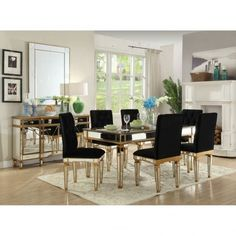 Mirrored Furniture Gold Dining Table & 6 Chairs Set Mirror Marble Gilt Venetian Imperial Designer - Dining Room from Chicmyhome UK Living Room Table Sets, Living Room Mirrors, Glass Dining Table, Round Dining Table, Dining Set, Fabric Dining Chairs, Table And Chairs, Mirrored Furniture, Table Furniture