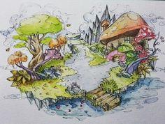 """Negeri Imaji"" scene 1 #art #draw #drawing #sketch #sketchbook #sketching #watercolor #surealism"