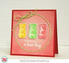 Yainea for Avery Elle Supplies: Beary Sweet Wishes clear stamps & dies Burst Dies Cherry Note Card