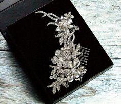 Rhinestone Hair Comb Crystal Bridal Hair Comb by LordandGreyBridal