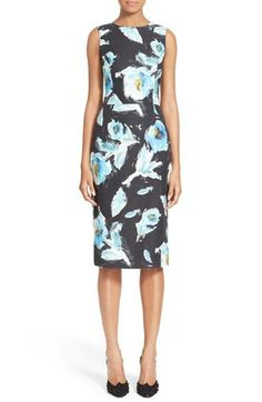 Oscar de la Renta Floral Print Cotton & Silk Sheath Dress available at #Nordstrom