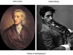 Celebrity Lookalikes From The Past - Adrien Brody and philosopher John Locke have to be related! John Locke, Adrien Brody, Celebrity Look Alike, John Travolta, Oscar Winners, Portraits, Matthew Mcconaughey, Celebs, Celebrities