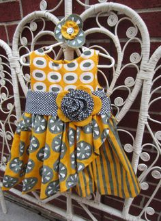 Girls Dress  Handmade  Boutique  3T  Yellow and by ArtDwellers, $49.95